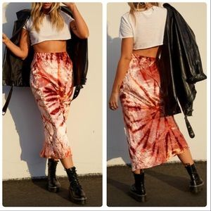 Free People Serious Swagger Tie Dye Skirt in Spice